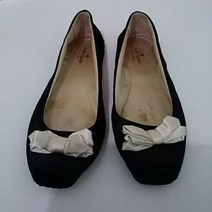 Kate Spade ♠ Black Satin Flats with Bows